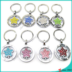 Wholesale Crystal Flower Metal Keychain (KR16041915)