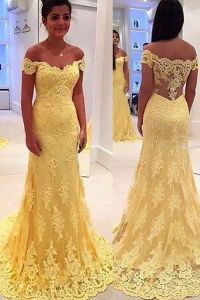 Yellow Lace Formal Evening off Shoulder A-Line Prom Dress Ya1901 pictures & photos