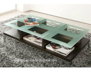 Glass Coffee Table Top with Acid Etched Pattern pictures & photos