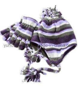 Customized Lady Knitting Winter Warm Printed Polar Fleece Set pictures & photos