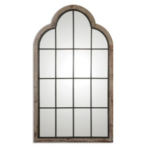 Gray Finished Handmade Wood Framed Door Shaped Wall Mirror for Home Decoration Accessory pictures & photos