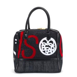 Designer Popular Jean Flock Printing Women′s Tote Bag (pH1831)