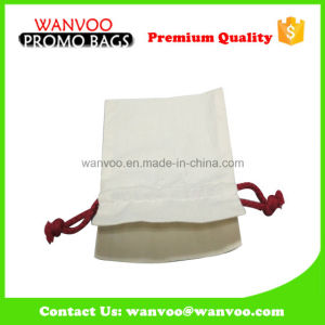 New White 100% Cotton Fabric Drawstring Bag with Red String pictures & photos