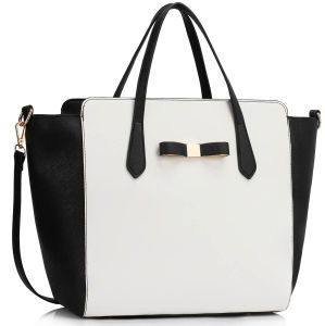 Ss16 Black / White Women′s Large PU Tote Bag with Bow pictures & photos