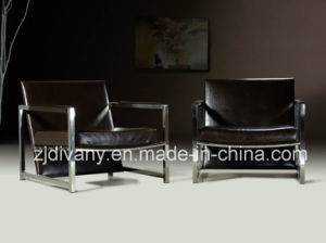 Divany Furniture Stainless Steel Feet Leather Seat Armchair (D-78) pictures & photos
