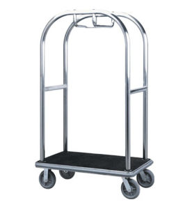 Hotel Bellman Luggage Platform Trolley with Brushed Finish pictures & photos