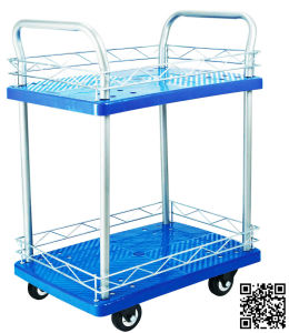 150kgs Double Decker Plastic Hand Truck with Guardrail for Factory pictures & photos