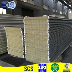 Heavy Density Flat PU Rock Wool Sandwich Panel pictures & photos