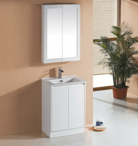 White Glossy MDF Bathroom Vanity Cabinet with Ceramic Basin (SK7-600W) pictures & photos