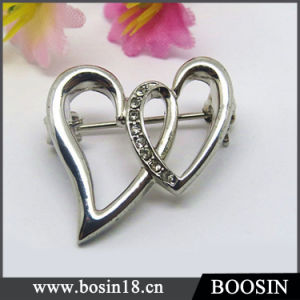 Elegant Double Cross Heart Brooch for Women #5821 pictures & photos