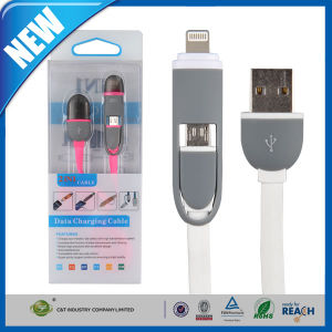 Use for Ios 8 Pin & Android 2 in 1 Micro USB Cable Sync Data Charging Charger Flat Noodle Cable for Samsung & iPhone pictures & photos