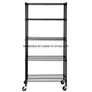 Black 4 Tier 800lbs Wire Metal Shelving Adjustable Steel Commercial Shelf Rack pictures & photos