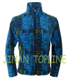 Long Jacket Printed Microfleece Blue Jacket pictures & photos