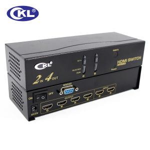 2 in 4 out HDMI Switch Splitter with IR Remote&RS232 Control
