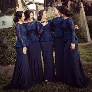 2017 Latest Designer Elegant Mermaid Long Sleeve Keyhole Back Floor Length Lace Bridal Train Dresses Wedding Dress pictures & photos