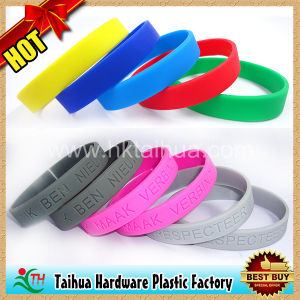 Blank Silicone Rubber Wristband Promotional (TH-6919) pictures & photos