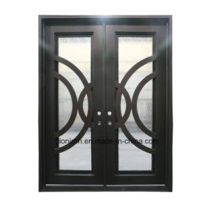 Custom Double Front Doors with Wrought Iron pictures & photos
