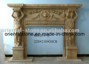 Natural Stone European Carving Fireplace for Decorative