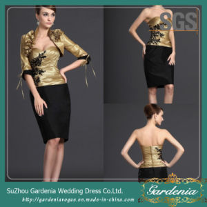 Gold and Black Bodycon Sweetheart Women Casual Clothes SGS Mother of The Bride Dress with Belero Jacket (GDNY167)