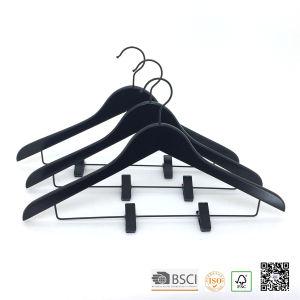 Hh Black Adjustable Clips Wooden Suit Wooden Clothes Hanger Hangers for Jeans pictures & photos