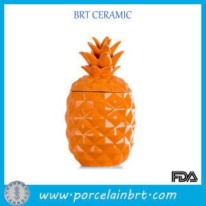 Orange Pinapple Galzed Ceramic Jar pictures & photos