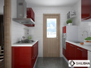 Red UV Modern Home Hotel Furniture Island Wood Kitchen Cabinet pictures & photos