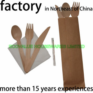 Wooden Disposable Flatware Kit Package pictures & photos