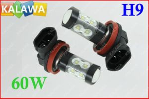 1 Pair 60W H9 6000k Fog Light Osram Chip Black Metal Type High Power LED Lamp Car Headlamp DC12-24V ^Jmq