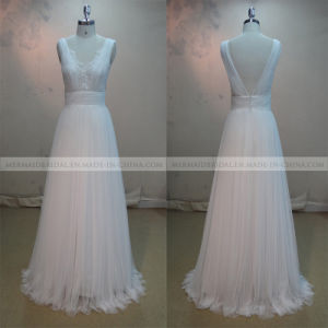 a-Line V-Neck Ivory Tulle Wedding Dress