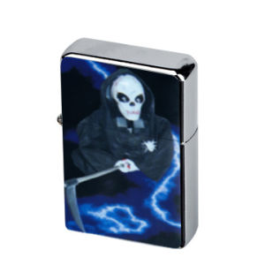 Skull Chrome PVC Emblem Metal Oil Lighter