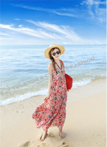 Fashion Printed Beach Long Dress/Ladies Long Dress