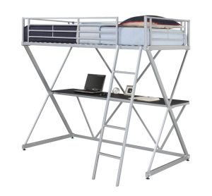Metal Loft Bunk Bed/Full Metal Loft Bed Over Workstation Desk pictures & photos