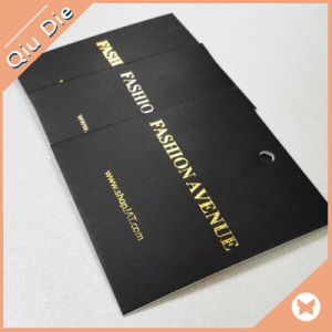 Custom Printing Gift Promotionl Design Debossed Gold Foil Hang Tag for Clothing pictures & photos
