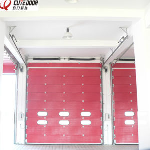 Electric Sectional Finger Protection Industrial Door with Window Inserts pictures & photos