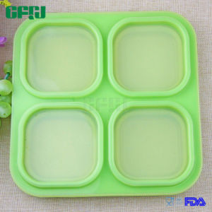 Four Compartment 100% Silicone Food Container for Fingerfood on The Go pictures & photos