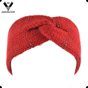 Lady Fashion Acrylic and Lurex Knitted Shiny Headband pictures & photos
