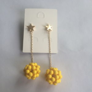Yellow Ball Earrings with Metal Tassel Fashion Jewelry pictures & photos