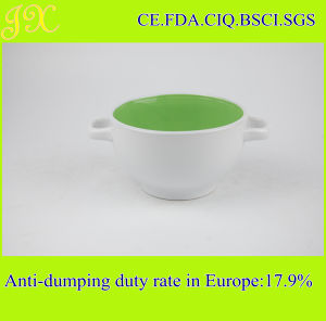 China Manufacturer Supply Ceramic Bowl with Double Handles