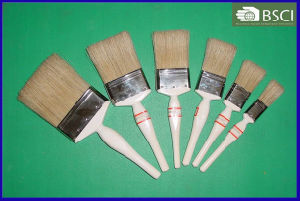 Shsy-999-Wh White Wooden Handle White Bristle Paint Brush pictures & photos
