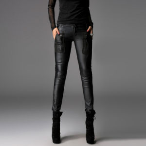 Women Casual Tight Leather Pencil Pants (PK-003) pictures & photos