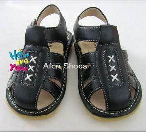 Black Baby Boy Squeaky Sandals (L102 Black)