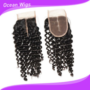 Premium Quality Remy Virgin Kinky Curl Brazilian Hair Silk Top Lace Closure pictures & photos