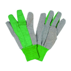 Green Woven Cloth Garden Glove with Black PVC Dots