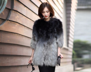 Women′s Winter Warm 100% Raccoon Fur Long Coat Gradient Color pictures & photos