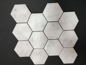 "Hexagonal 3"" Carrara White Marble Mosaic pictures & photos"