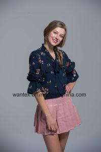 Ladies Blouse 100% Polyester Fashion Shirt Fashion Top Spring Autumn Stripepagoda Sleeve Girl pictures & photos