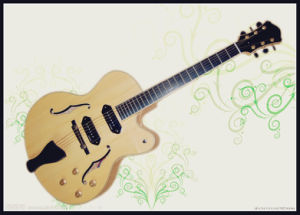 Two Pickup Natural Color Jazz Guitar