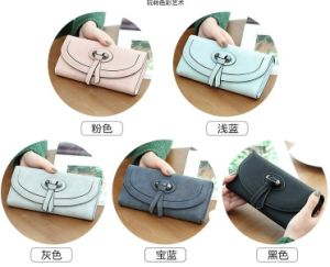 Autumn and Winter Fashion and Simple Three Fold Buckle Long Section PU Ladies Wallet pictures & photos