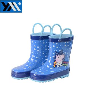 Star Pattern Kids Rubber Rain Boots with Handles pictures & photos