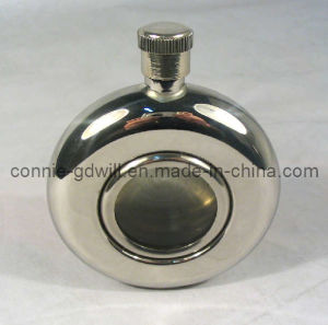 5oz Stainless Steel Round Hip Flask With Glass in The Middle (635GH/S)